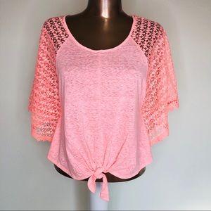 Victorias Secret Lace Tie Poncho Top Coverup Pink